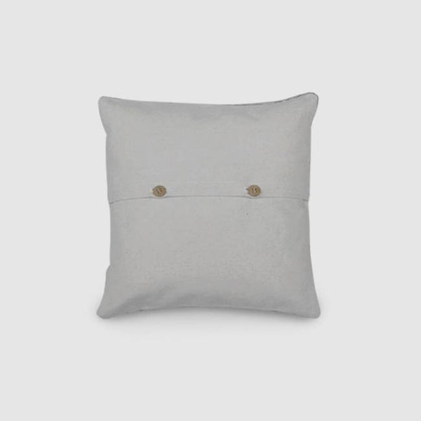 Hollyhock Hand Embroidered Chainstitch Cushion Cover Woollen White - Zaina by CtoK