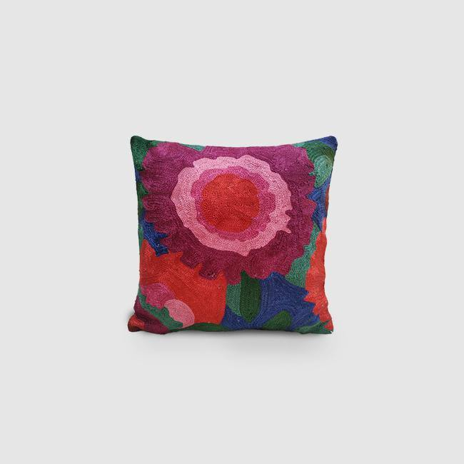 Rose - Chain Stitch Embroidered Cushion Cover Persian Blue