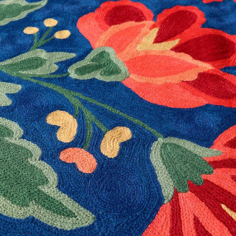 Royal Blue Hand Embroidered Chainstitch Rug - Zaina by CtoK