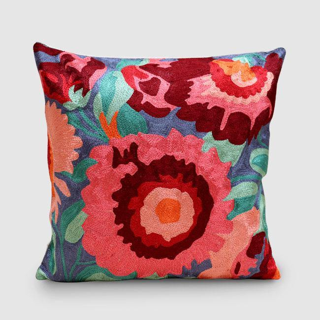 Gallardia Chainstitch Embroidered Cushion Cover Livid - Zaina by CtoK
