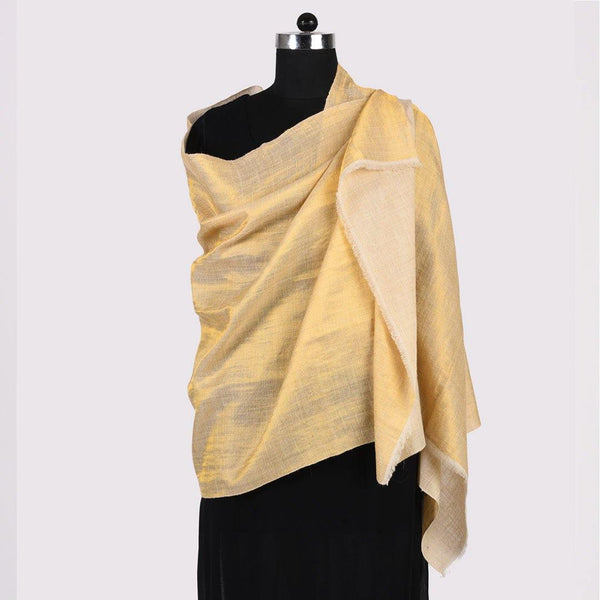 Shimmer Cream Reversible Handwoven Pashmina Shawl - Zaina by CtoK