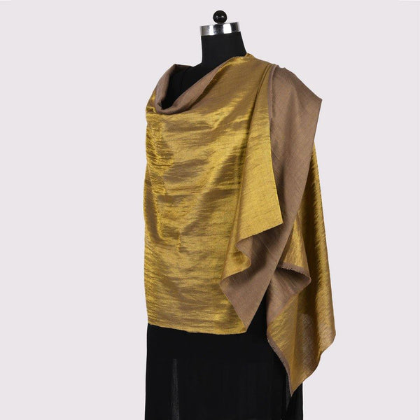 Shimmer Brown Reversible Handwoven Pashmina Shawl - Zaina by CtoK