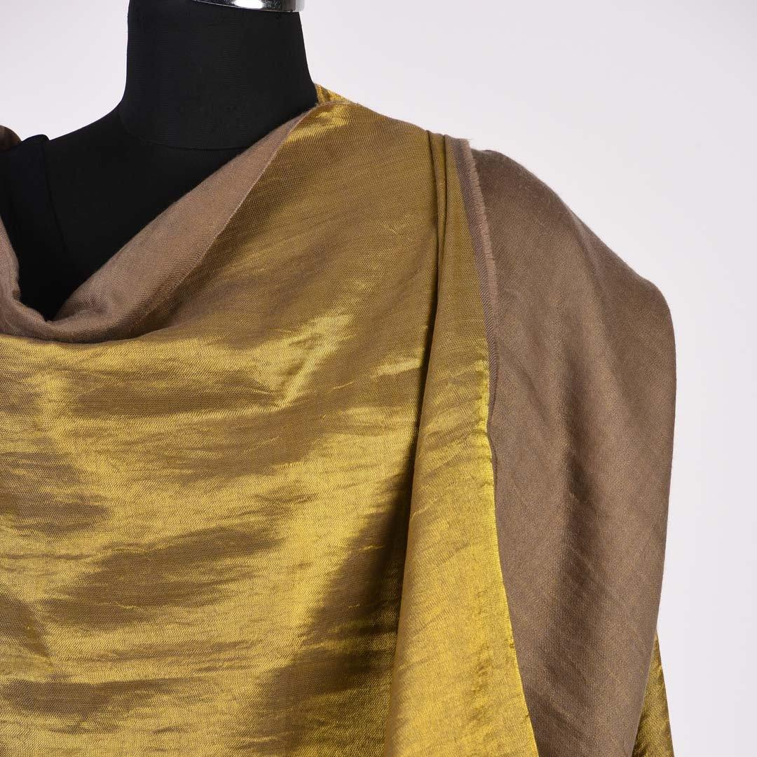 Shimmer Brown Reversible Handwoven Pashmina Shawl