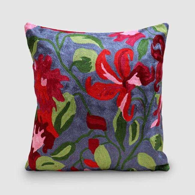 Lily Chainstitch Embroidered Cushion Cover Vivid Grey - Zaina by CtoK