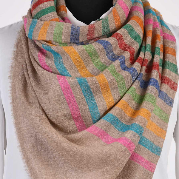 Multicolour Striped Pure Handwoven Pashmina Stole - Zaina by CtoK