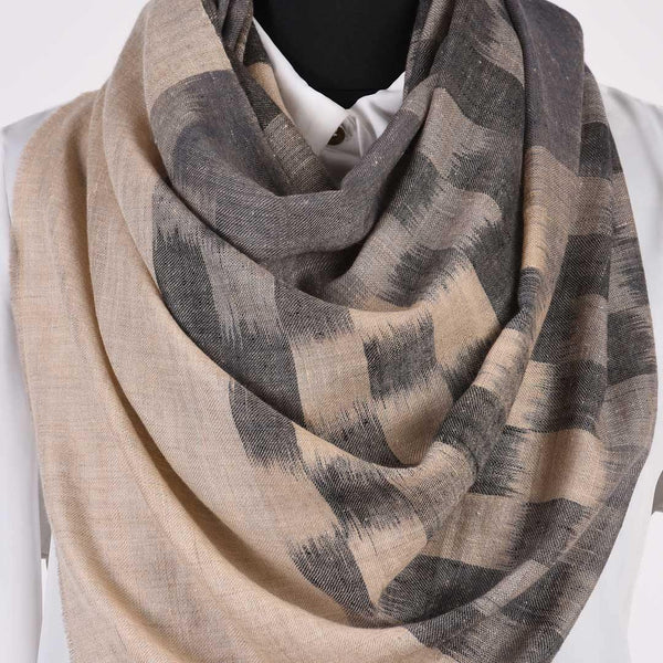 Grey Checkered Pure Handwoven Pashmina Stole - Zaina by CtoK