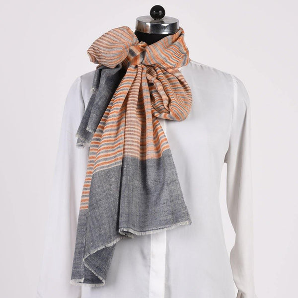 Multicoloured Pin Stripes Pure Handwoven Pashmina Stole - Zaina by CtoK