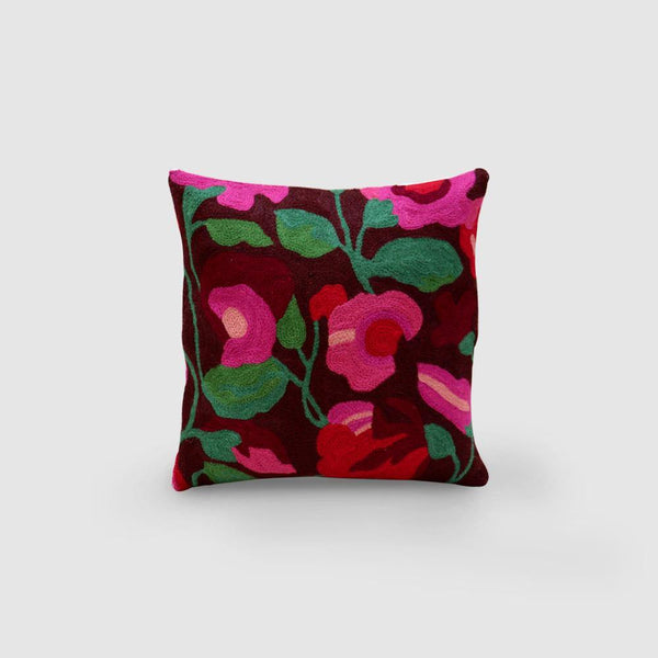 Nargis Hand Embroidered Chainstitch Cushion Cover Woollen Chocolate - Zaina by CtoK