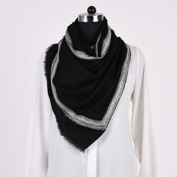Kinaari - Zari Embroidered Handwoven Pashmina Stole Black - Zaina by CtoK