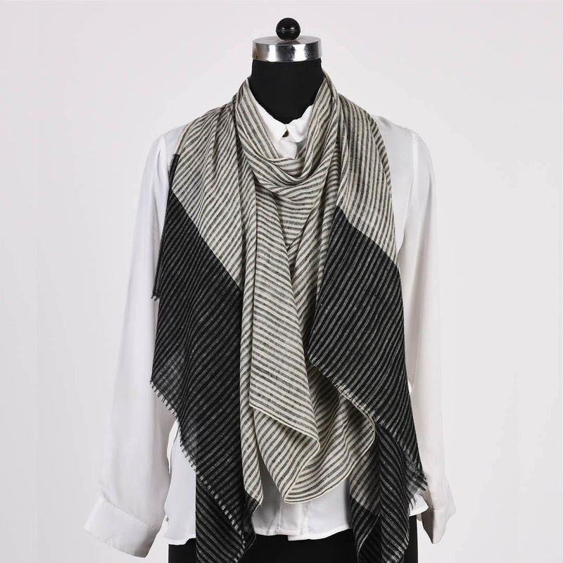 Black Grey Pin Stripped Pure Handwoven Pashmina Stole - Zaina by CtoK