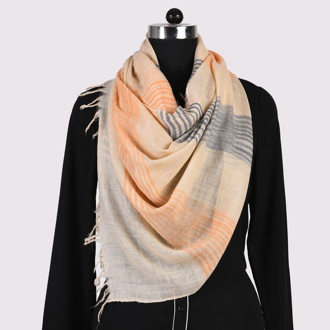 Cream Striped Pure Handwoven Pashmina Stole