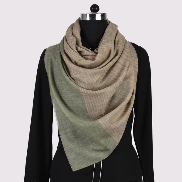 Natural Stripped Pure Handwoven Pashmina Stole - Zaina by CtoK