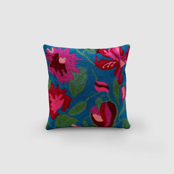 Lily Hand Embroidered Woollen Chainstitch Cushion Cover Persian Blue - Zaina by CtoK