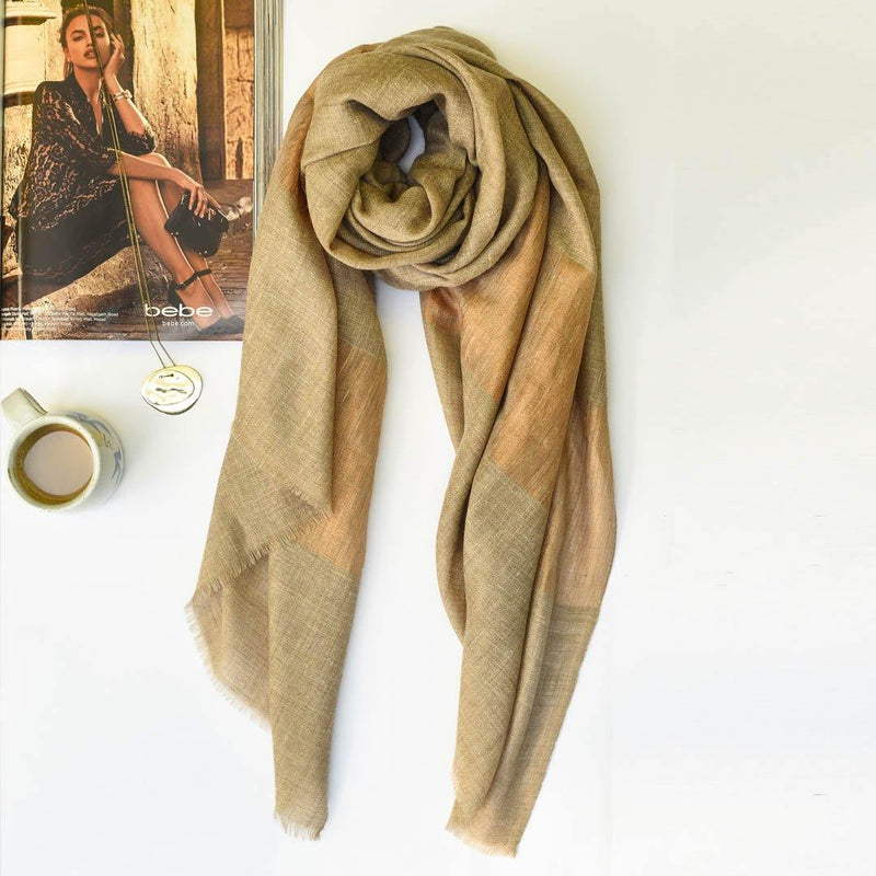 Shimmer Natural Copper Pure Handwoven Pashmina Stole - Zaina by CtoK