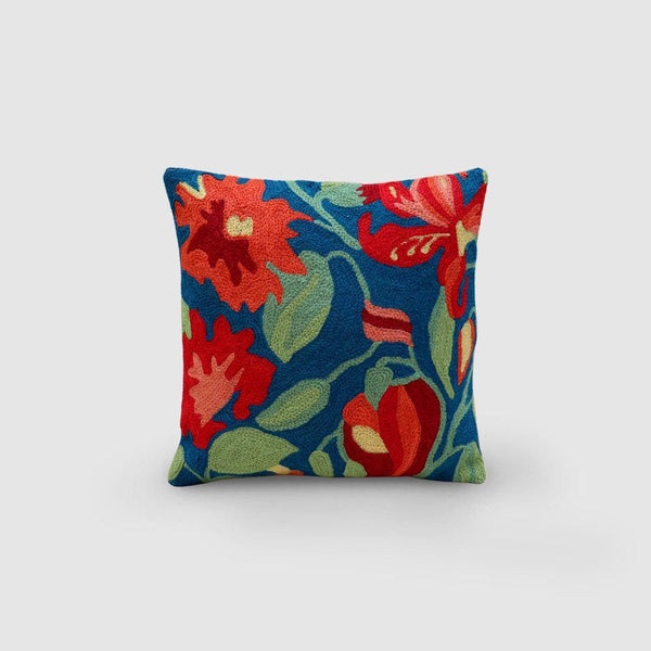 Lily Hand Embroidered Chainstitch Cushion Cover Woollen Orange - Zaina by CtoK
