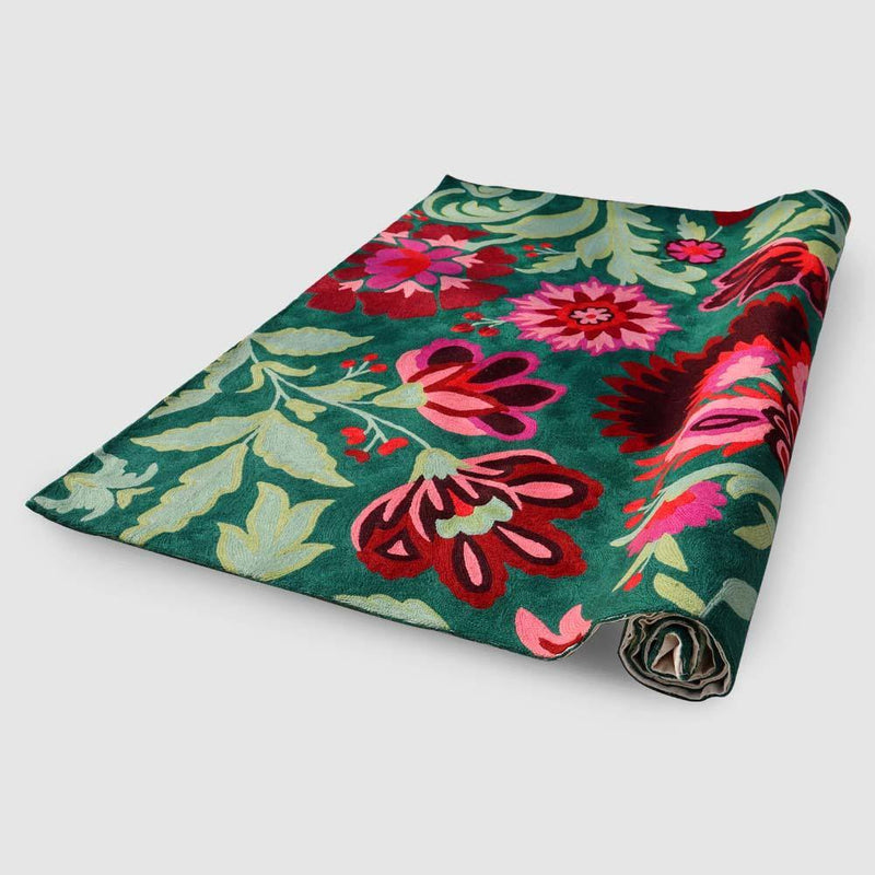 Verdant Green with crimson flowers Hand Embroidered Chainstitch Rug - Zaina by CtoK