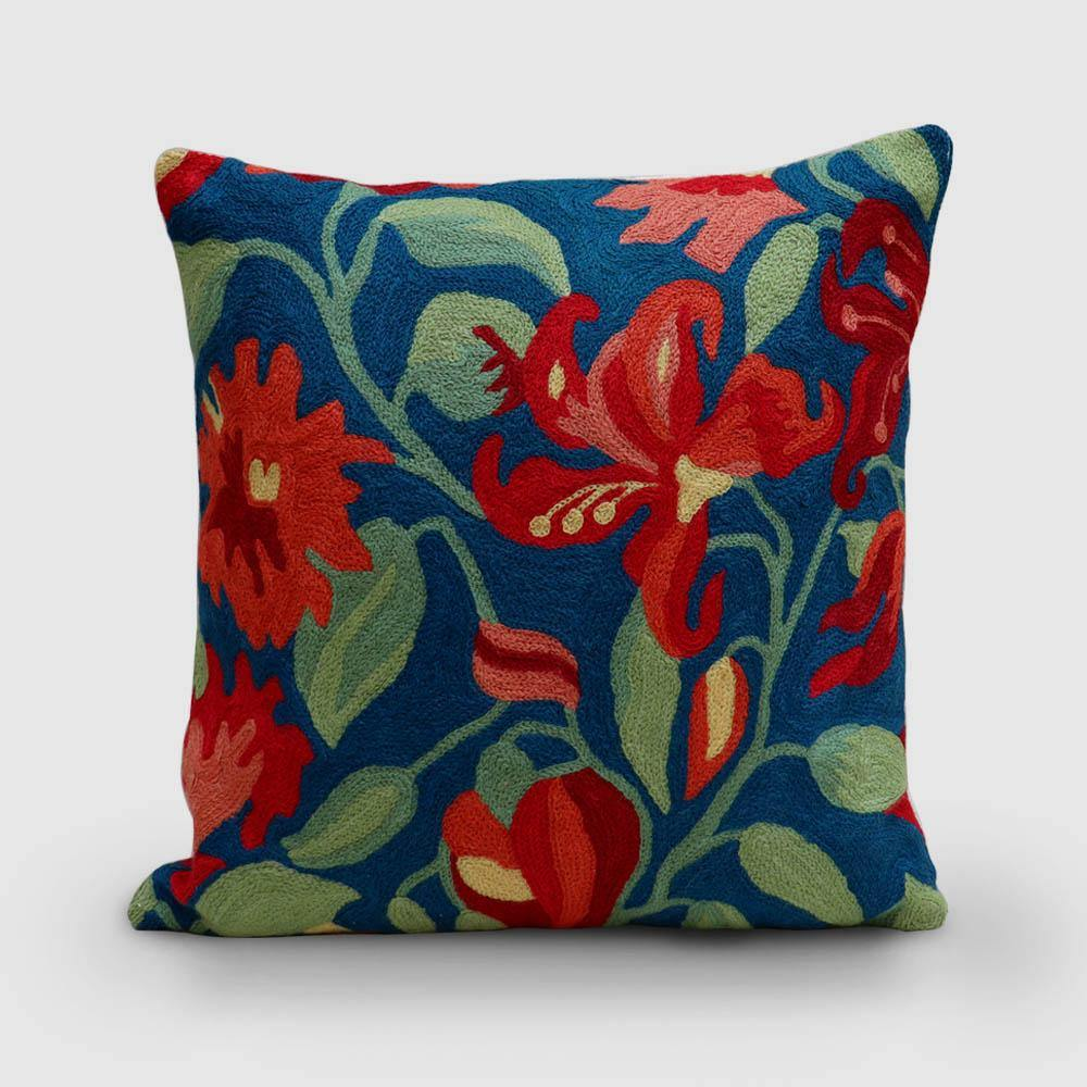 Lily Hand Embroidered Chainstitch Cushion Cover Woollen Persian Blue