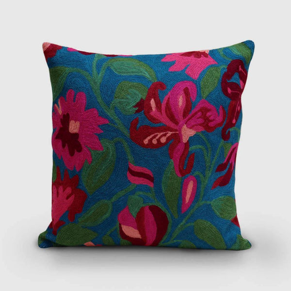 Lily Hand Embroidered Chainstitch Cushion Cover Woollen Fuchsia - Zaina by CtoK