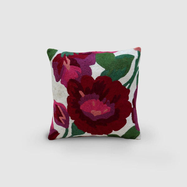 Hollyhock Hand Embroidered Chainstitch Cushion Cover Woollen Maroon - Zaina by CtoK