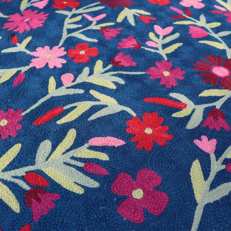 Navy Blue Hand Embroidered Chainstitch Rug - Zaina by CtoK