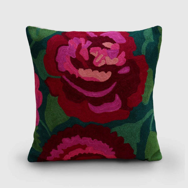 Rose Hand Embroidered Woollen Chainstitch Cushion Cover Verdant Green - Zaina by CtoK