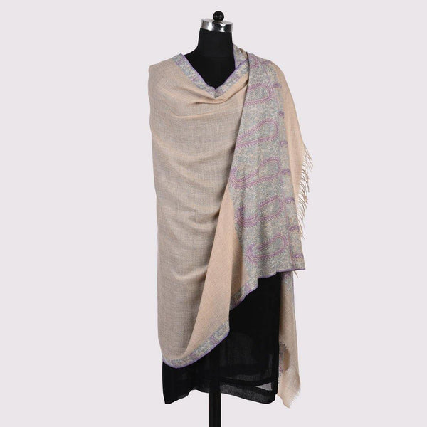 Paisley - Sozni Embroidered Handwoven Pashmina Shawl Natural - Zaina by CtoK