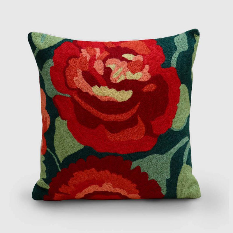 Rose Hand Embroidered Woollen Chainstitch Cushion Cover Orange - Zaina by CtoK