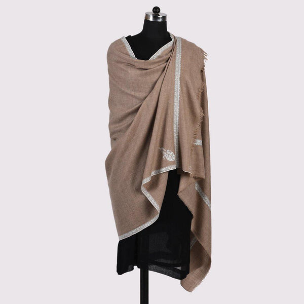 Paisley Kinara - Sozni Embroidered Handwoven Pashmina Shawl Natural - Zaina by CtoK