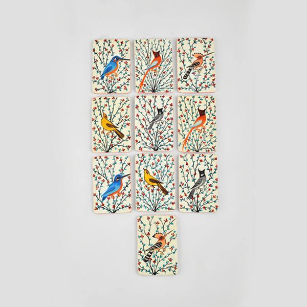 Birds of Kashmir- Papier Mache Memory Game Grey - Zaina by CtoK
