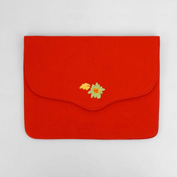 Bouquet - Aari Embroidered Laptop Sleeve Red - Zaina by CtoK