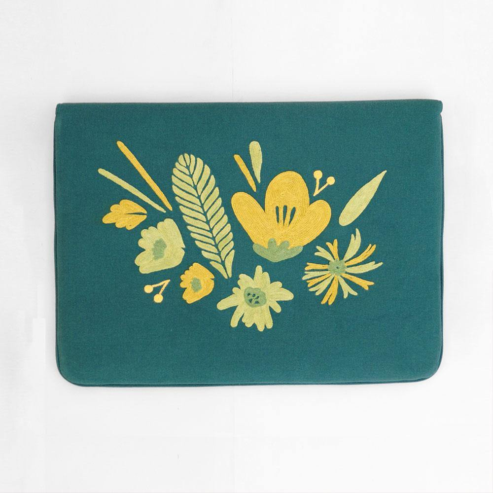 Bouquet - Aari Embroidered Laptop Sleeve Green