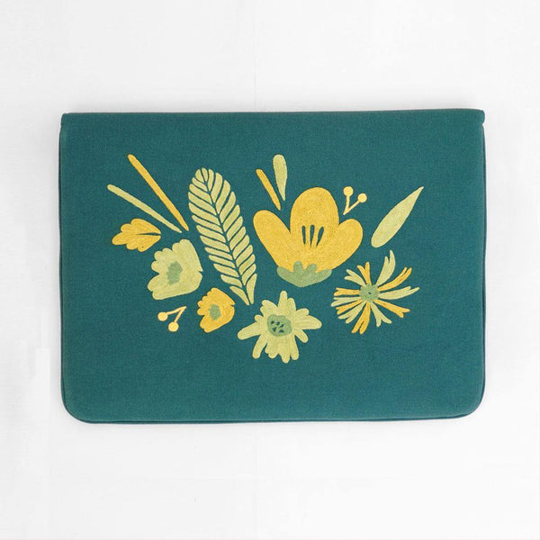 Bouquet - Aari Embroidered Laptop Sleeve Green - Zaina by CtoK