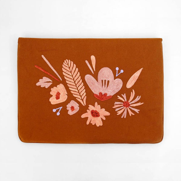 Bouquet - Aari Embroidered Laptop Sleeve Brown - Zaina by CtoK