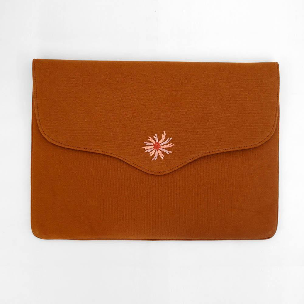 Bouquet - Aari Embroidered Laptop Sleeve Brown