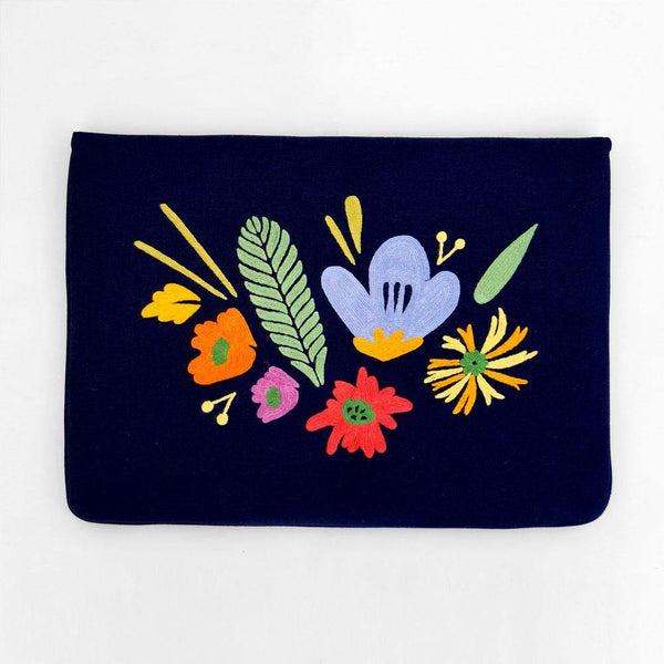Bouquet - Aari Embroidered Laptop Sleeve Navy Blue - Zaina by CtoK