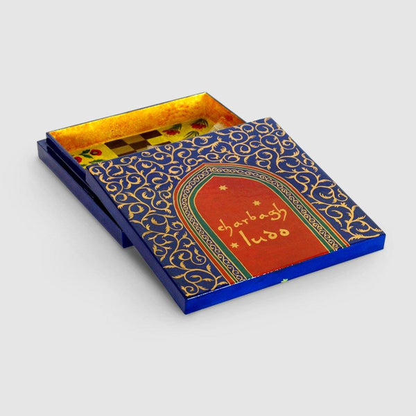 Charbagh Ludo - Papier Mache Game Blue Medium - Zaina by CtoK