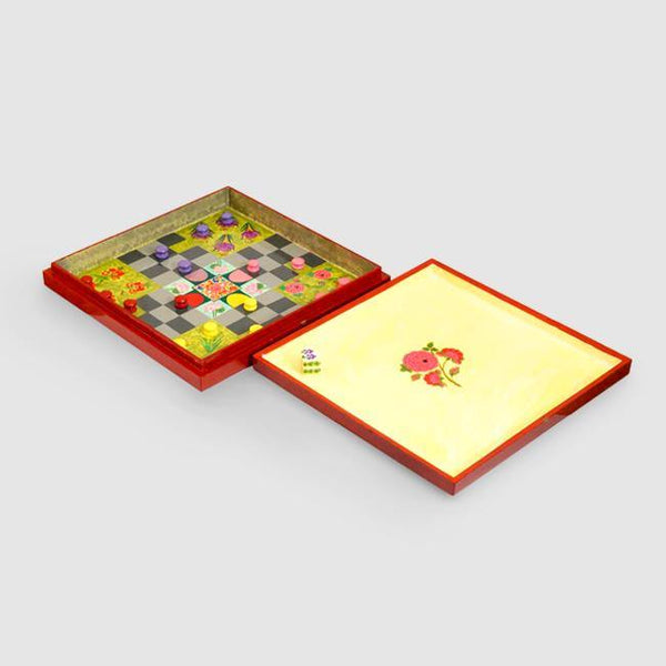 Charbagh Ludo - Papier Mache Game Red Large - Zaina by CtoK