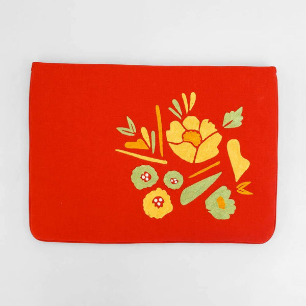 Corsage- Aari Embroidered Laptop Sleeve Red - Zaina by CtoK