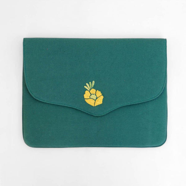 Corsage- Aari Embroidered Laptop Sleeve Green - Zaina by CtoK