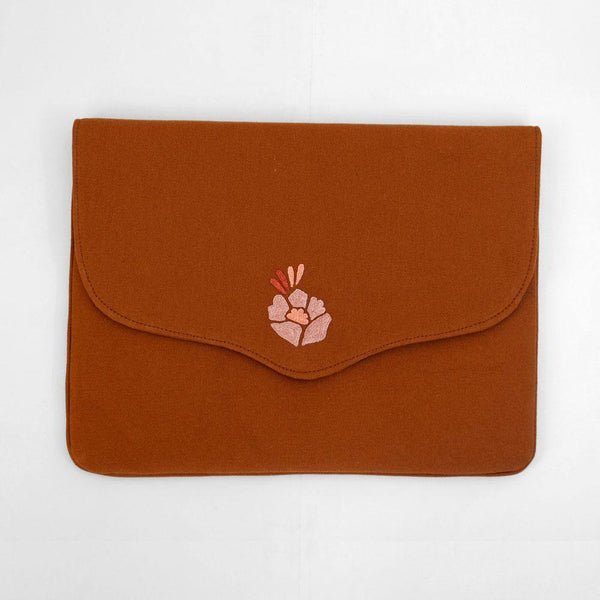 Corsage- Aari Embroidered Laptop Sleeve Brown - Zaina by CtoK