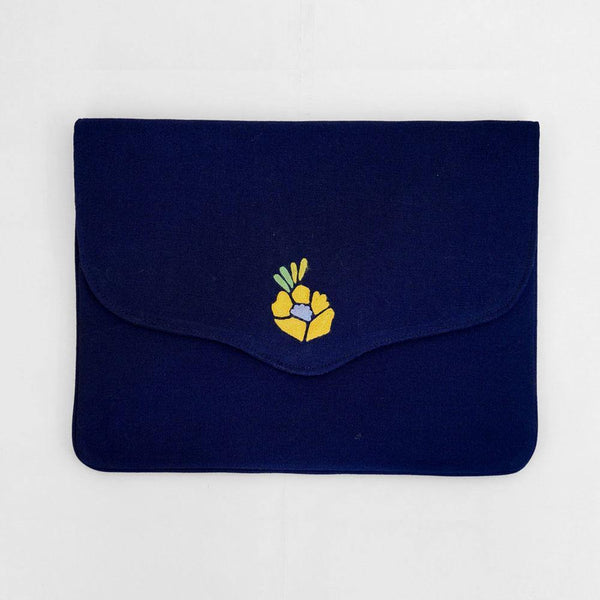 Corsage - Aari Embroidered Laptop Sleeve Navy Blue - Zaina by CtoK