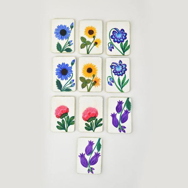 Flowers of Kashmir - Papier Mache Memory Game Green - Zaina by CtoK