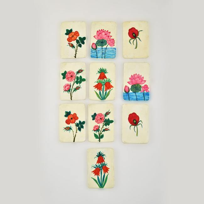 Flowers of Kashmir - Papier Mache Memory Game Red - Zaina by CtoK
