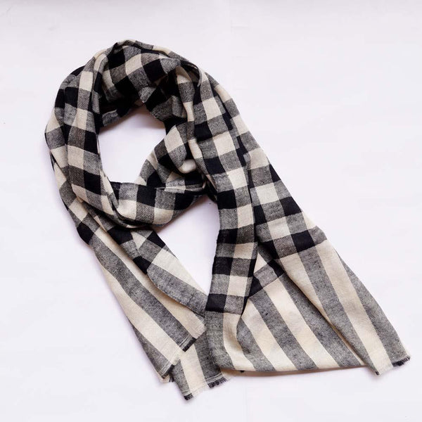Midnight Black Check Men's Pashmina Scarf - Zaina by CtoK