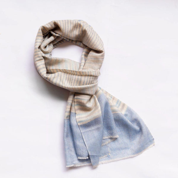 Crystal Blue Stripped Men's Pashmina Scarf - Zaina by CtoK