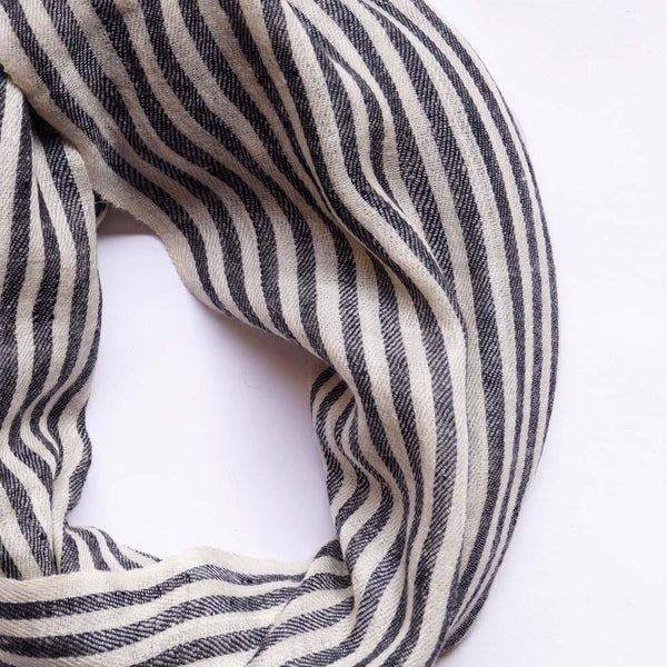 Ivory Black Pin Stripped Men's Pashmina Scarf - Zaina by CtoK