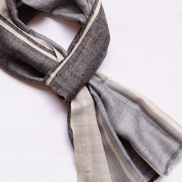 Handsome Grey Men's Pashmina Scarf - Zaina by CtoK