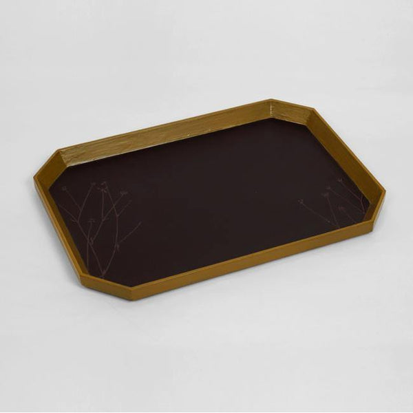 Rajbagh - Papier Mache Tray Brown & Olive - Zaina by CtoK