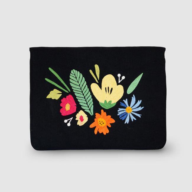 Bouquet - Aari Embroidered Laptop Sleeve Black