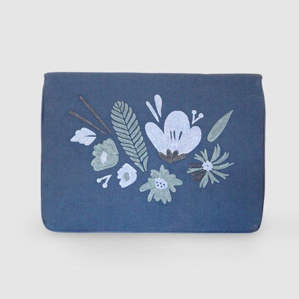 Bouquet - Aari Embroidered Laptop Sleeve Blue - Zaina by CtoK